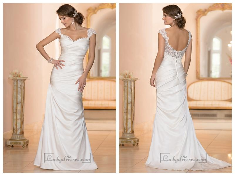 Classic Illusion Cap Sleeves Sweetheart Ruched Bodice