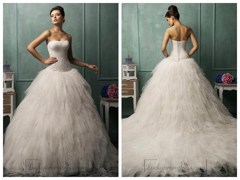 Strapless Criss-cross Bodice Ruffled Ball Gown Wedding