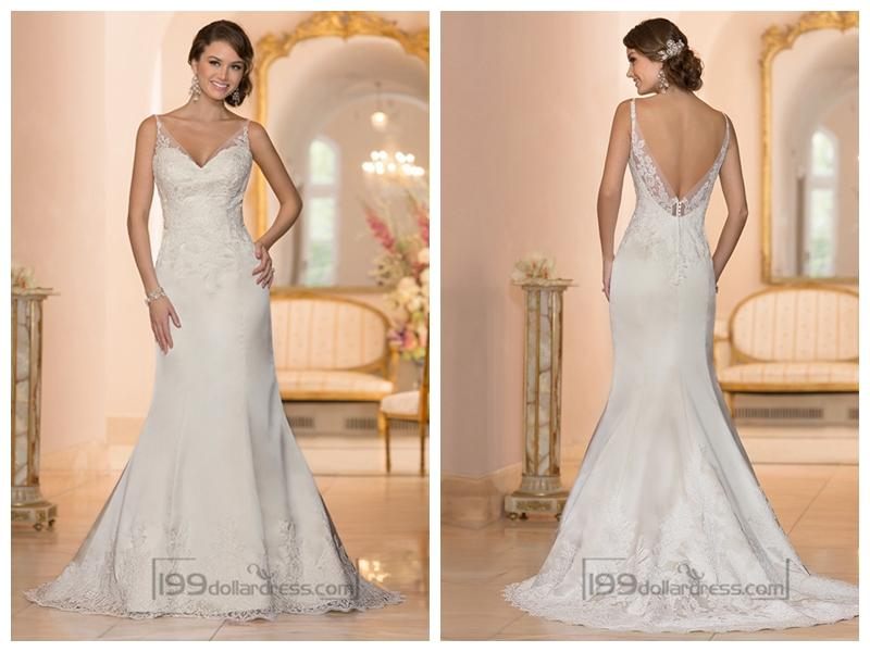 Elegant Fit And Flare Illusion Straps Wedding Dresses With