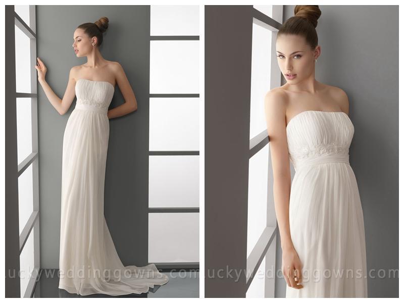 Modern Summer Simple Empire Waist Column Wedding Dress
