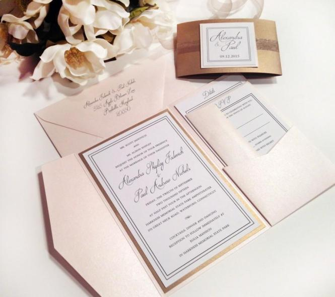 Elegance Blush And Antique Gold Pocket Folder Style Wedding