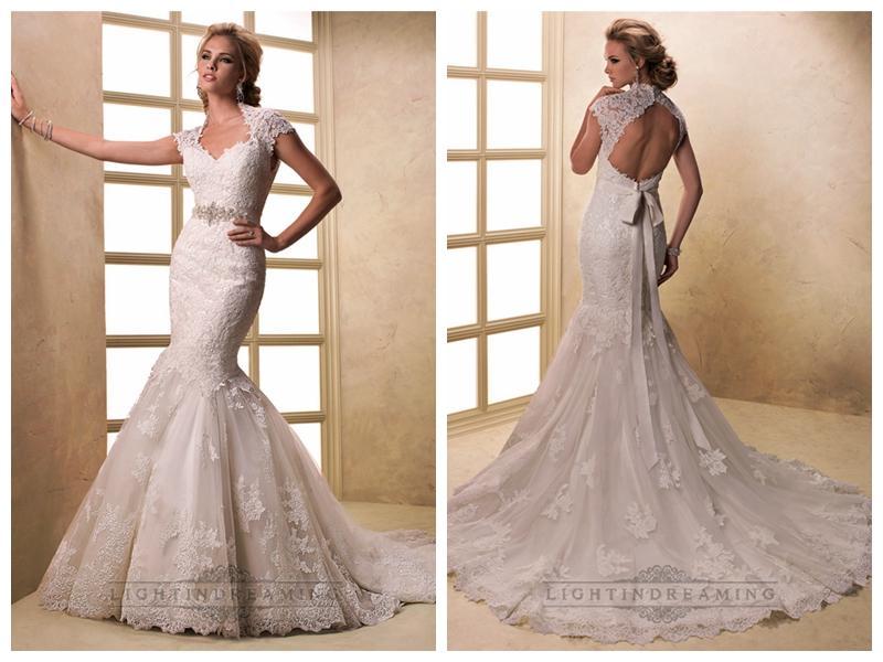 eae18a50f80 cap sleeves v neck mermaid lace wedding dresses with keyhole back