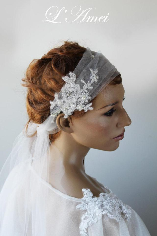 wedding hair band with rose embroidered organza tail,white