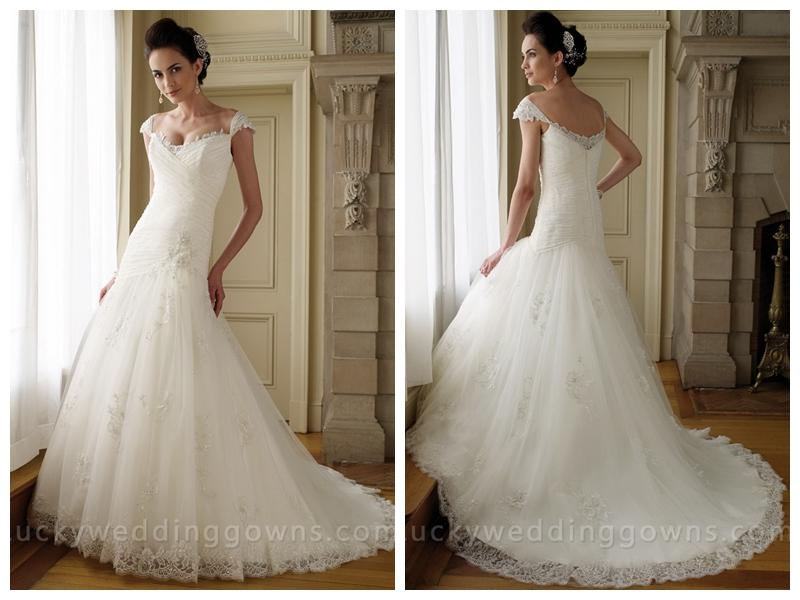 Cap Sleeves Lace Tulle A-line Wedding Dress With