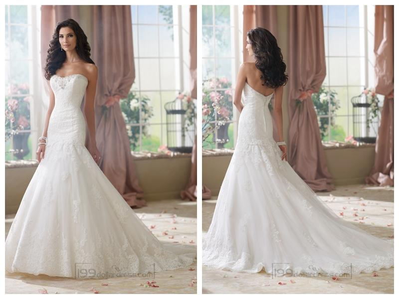 Strapless A-line Softly Curved Neckline Lace Mermaid