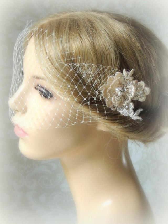 bridal ivory veil, 2 lace hair clips, bandeau birdcage veil