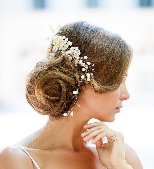 huge dazzling wedding crystal hair piece, gold vine hair