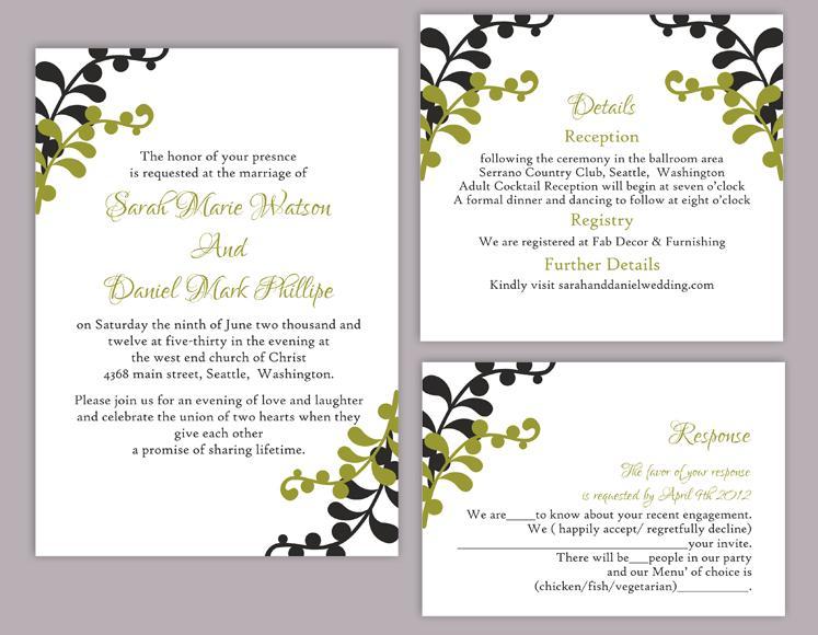 Invitation Word Template diy wedding invitation template set – Word Invitation Template