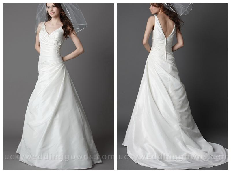 Ivory V-neck Taffeta Asymmetrical Chapel Train Wedding