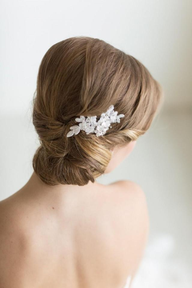 petite lace hair comb, floral bridal hair pin, wedding hair