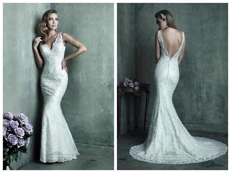 Dreamy Lace Sheath V-neck Wedding Dresses With Deep V-back