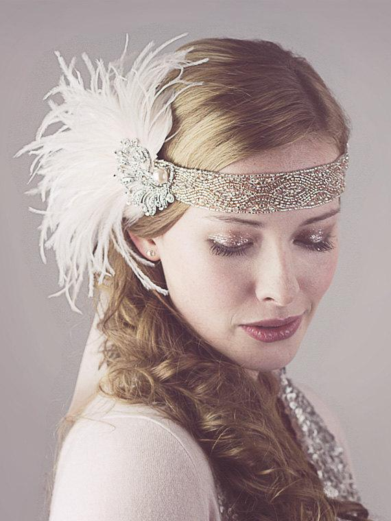 Peaches And Cream Ostrich Feather Flapper Headband Silver