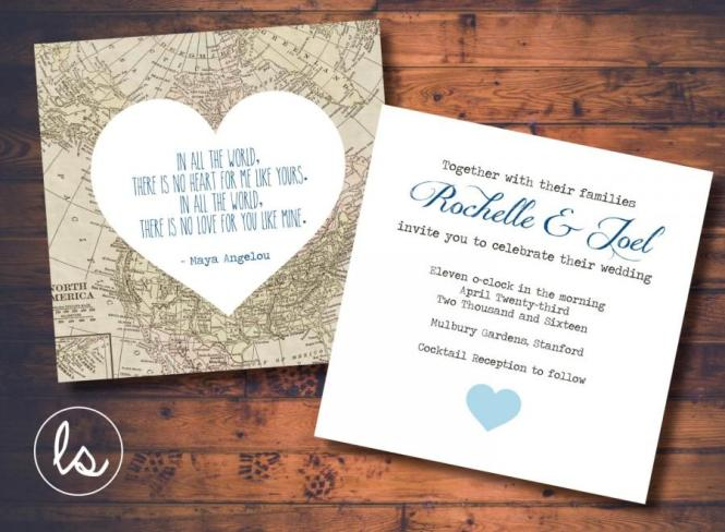 Diy Printable Vintage Map Wedding Invitation
