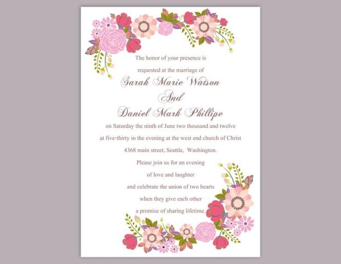Wedding Invitation Templates Pink Wedding Invitation – Wedding Invitation Templates for Word