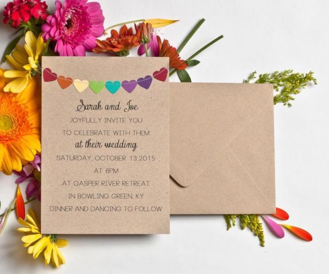 Wedding Invitations Rainbow Stationery Kraft