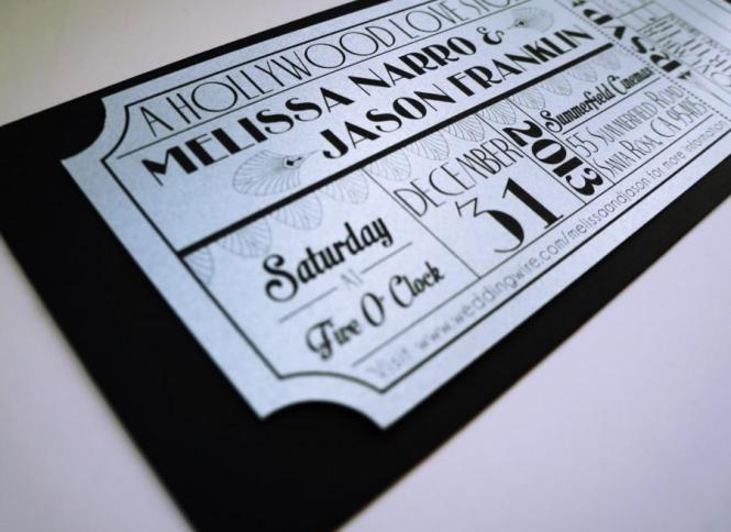 Old Hollywood Art Deco Silver Movie Ticket Wedding