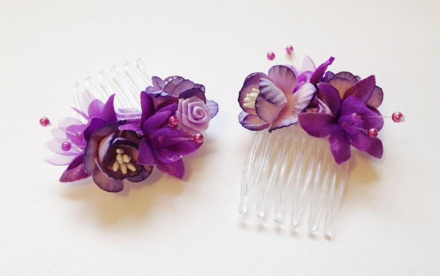 Purple Wedding Flower Hair Accessories Wedding Flower Hair