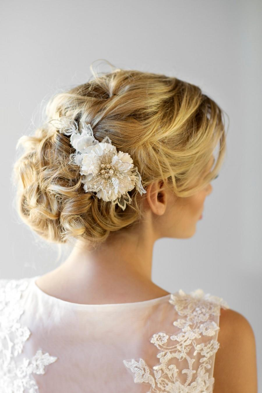 bridal flower hair comb wedding headpiece bridal flower fascinator ivory silk flower comb