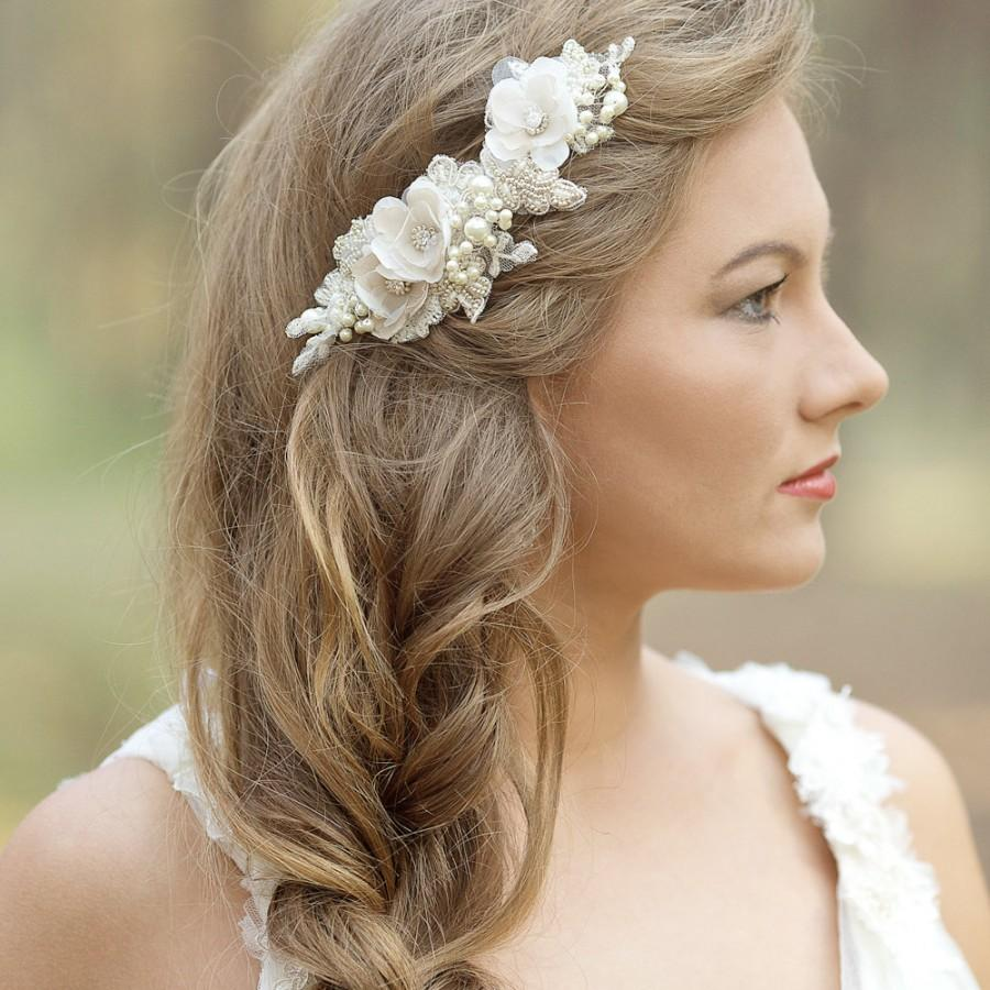 wedding hair accessories wedding hair comb wedding headpiece wedding hair piece bridal hair comb floral rustic champagne