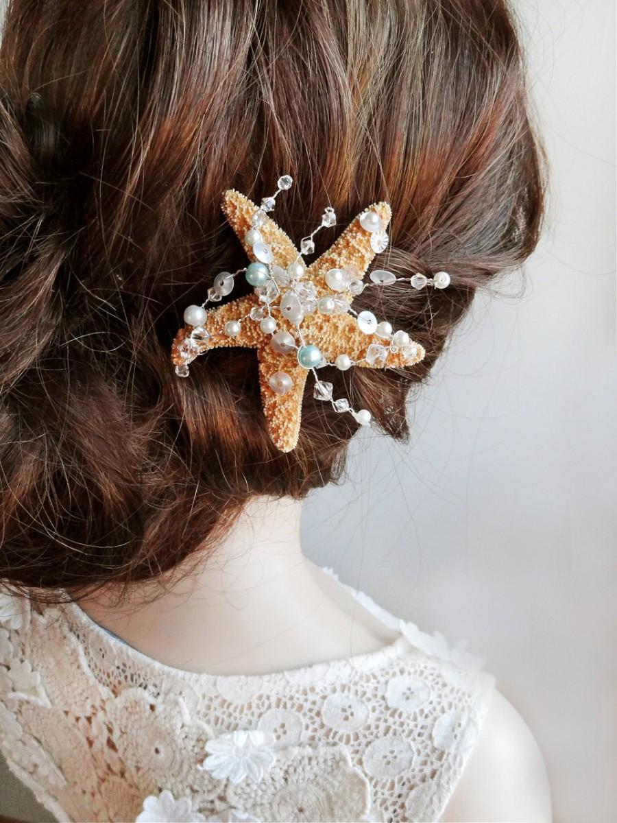 starfish hair clip starfish hair pin ocean jewelry beach wedding hair accessories seashell hair clip beach jewelry swarovski
