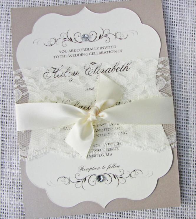 Vintage Elegant Lace Wedding Invitation
