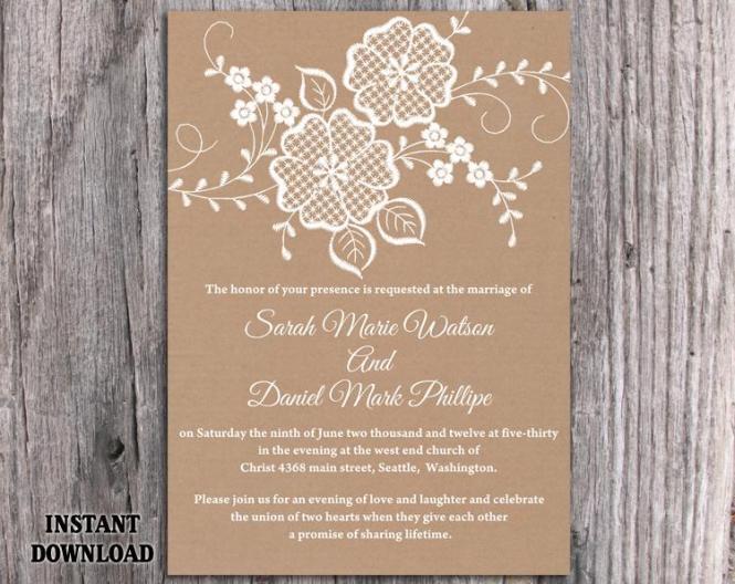 Diy Lace Wedding Invitation Template Editable Word File