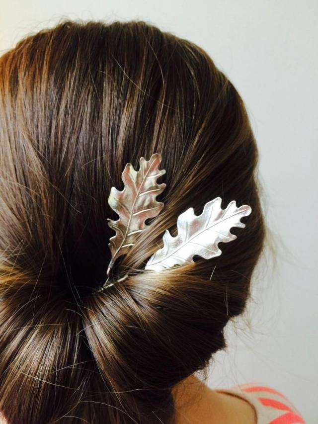 silver oak leaf hair pins silver bobby pins leaf barrettes