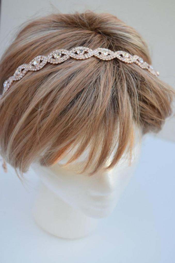 thin rose gold crystal rhinestone headband - rose gold hair