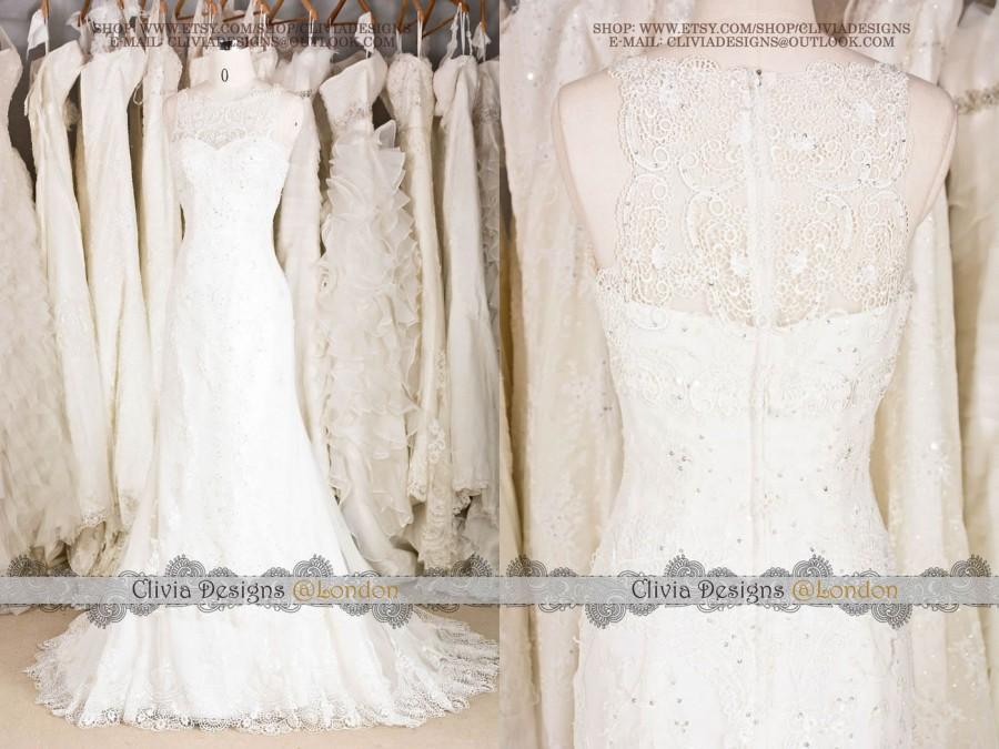 Vintage Lace Mermaid Wedding Dress,Illusion Neckline