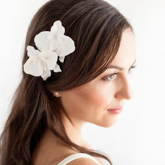 orchid hair pins - set of 2 bridal hair flowers orchid