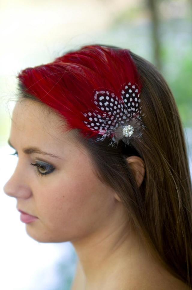 red headband, feather fascinator, headband, bridal hair