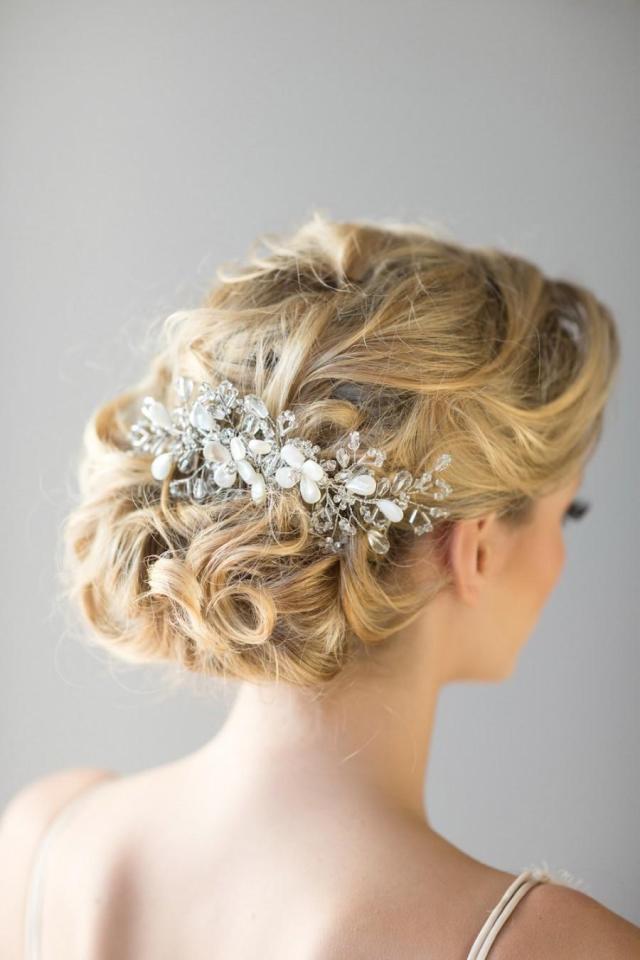bridal hair comb, beach wedding hair accessory, crystal hair