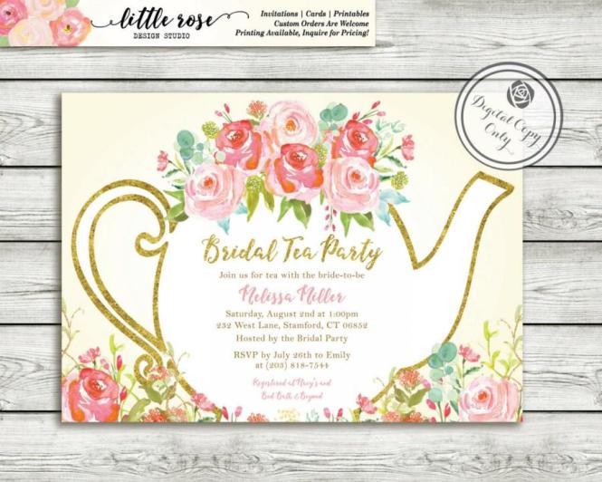 Tea Party Wedding Shower Invitations – Tea Party Bridal Shower Invitations