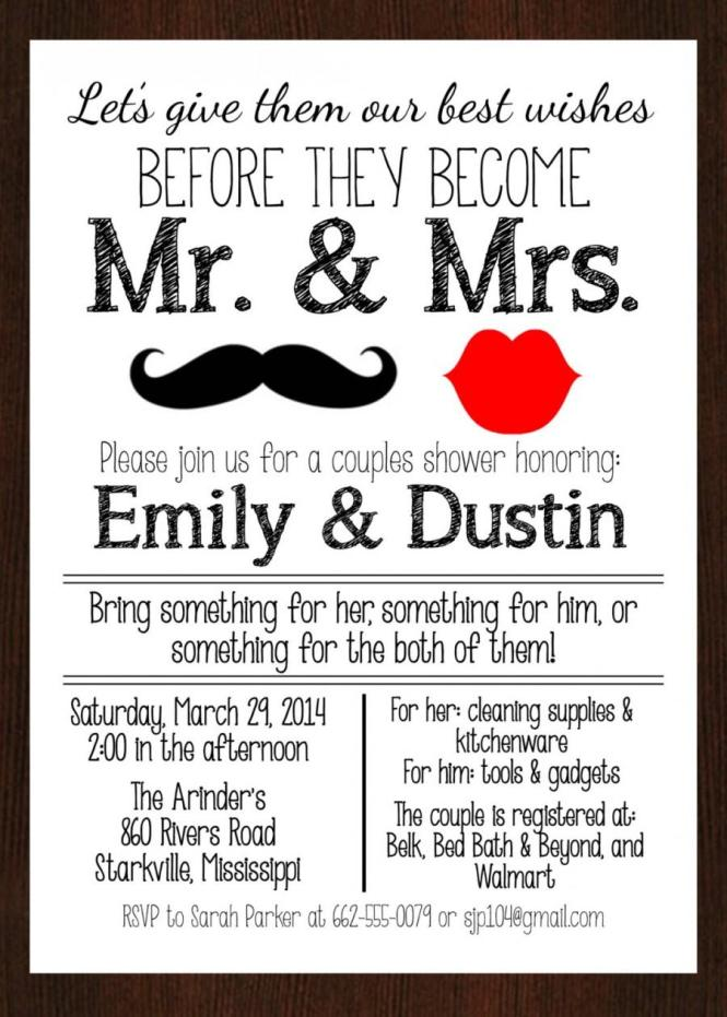 Printable Mr Mrs S Wedding Shower Invitation Lipustache Red And Black Or Gold Digital