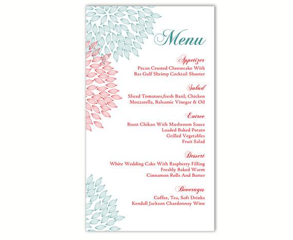 Menu Template For Word wedding menu template diy menu card – Free Menu Templates for Word