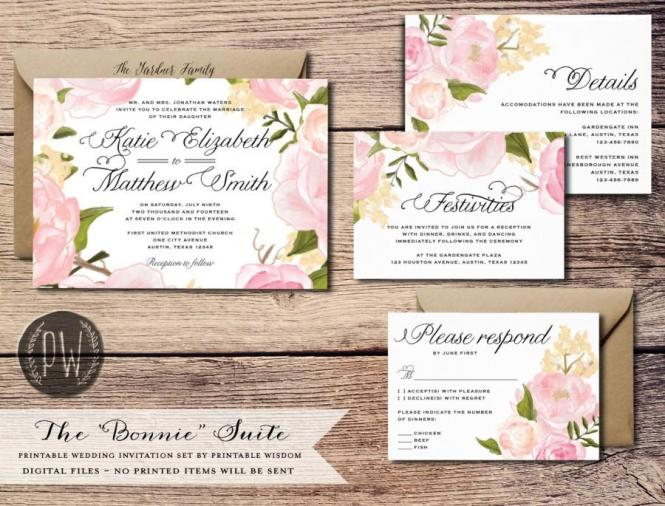 Printable Wedding Invitation Suite Fl Invite