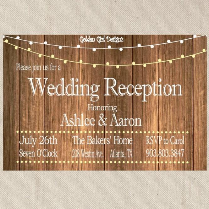 Vintage Lights Wedding Reception Invitation On Wooden