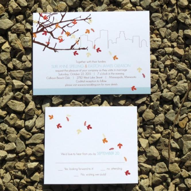Modern Leaves Wedding Invitation Easton Fall Deposit Minneapolis New York City Austin Boston Lansing Philadelphia Chicago
