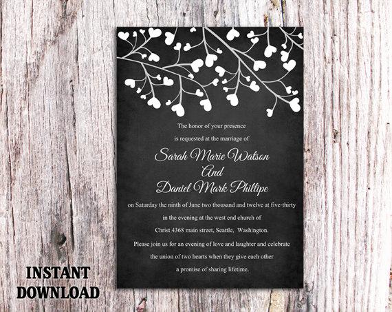Chalkboard Wedding Invitation Template on pinterest slate style – Free Rustic Wedding Invitation Printables