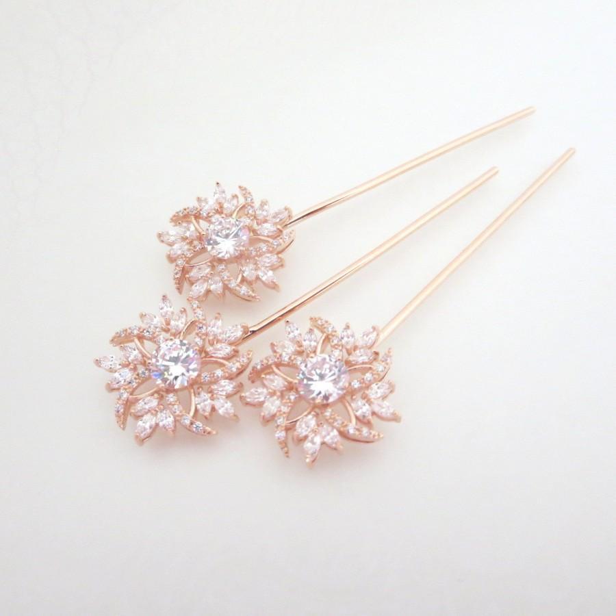 Rose Gold Hair Pin Bridal Hair Pins Rose Gold Wedding