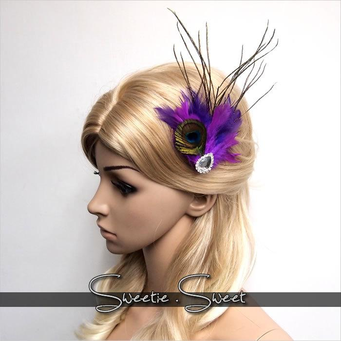 peacock feather hair clip feather fascinator peacock fascinator peacock accessories bridal headpiece wedding accessories hb148