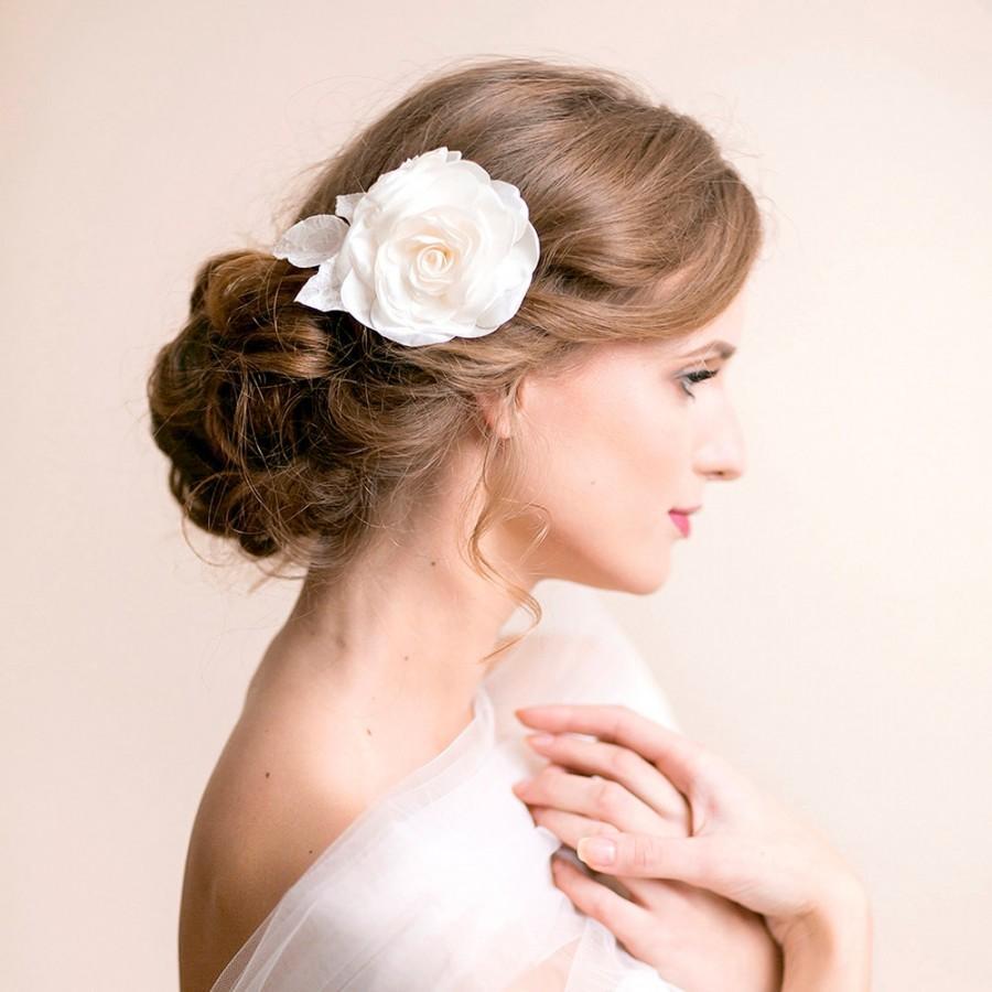 rose hair clip bridal hair clip flower for hair bridal rose headpiece wedding hair accessories wedding hair comb ivory white