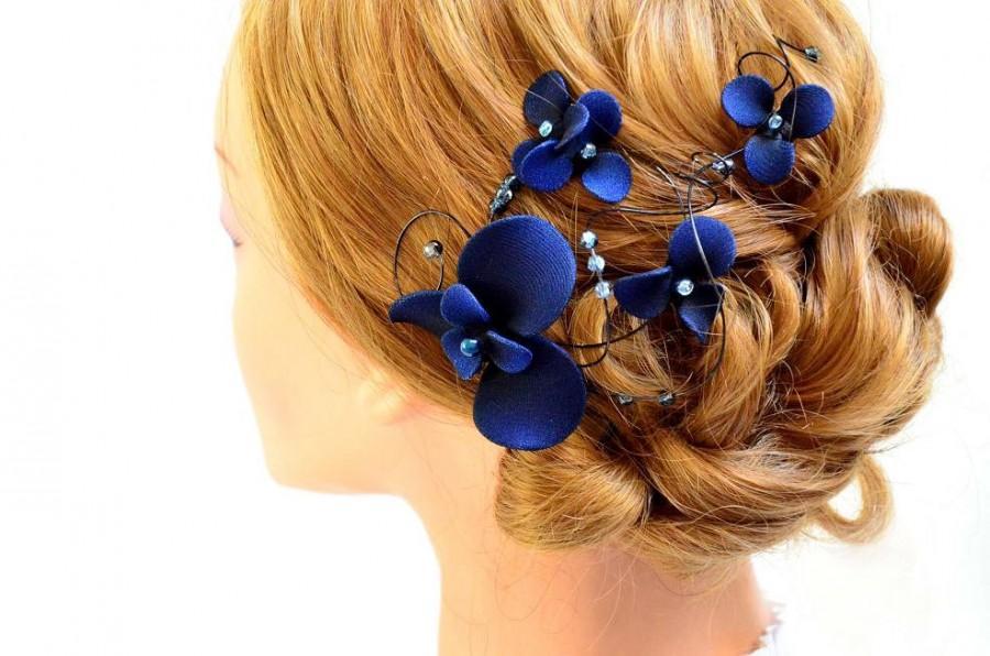 navy blue fascinator bridesmaids navy head piece wedding hair clip wedding hair accessories bridesmaids hair flower