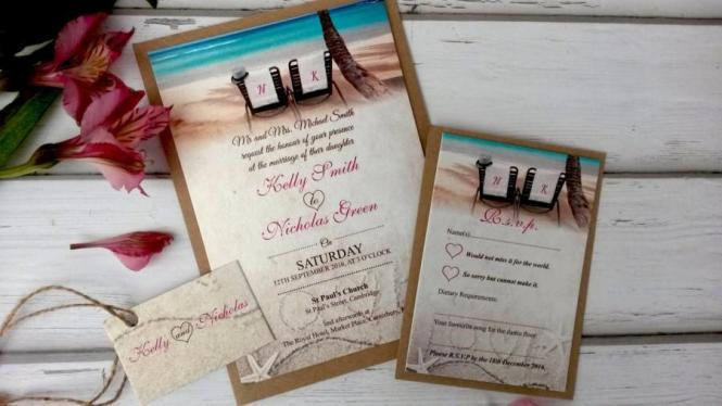 Beach Themed Wedding Invitations Personalised With Twine