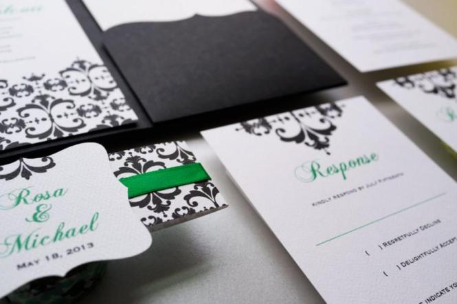 Fine Filigree Signature Ecru Wedding Invitations Coloring Cricket Emerald Green Front