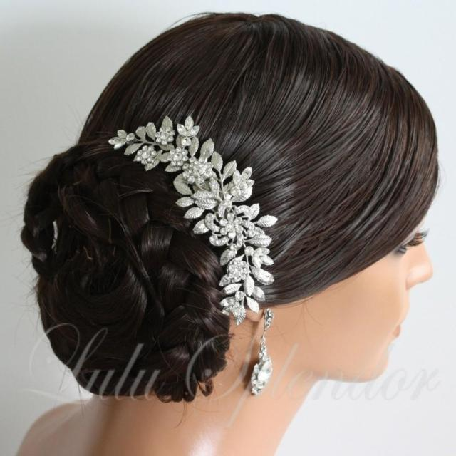 wedding hairpiece leaf bridal hair comb leaf comb swarovski