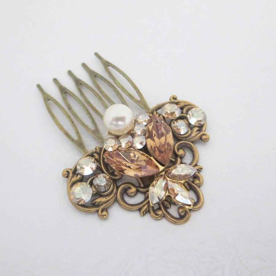 antique brass hair comb bridal hair comb wedding headpiece swarovski crystal hair comb vintage hair clip rhinestone hair comb