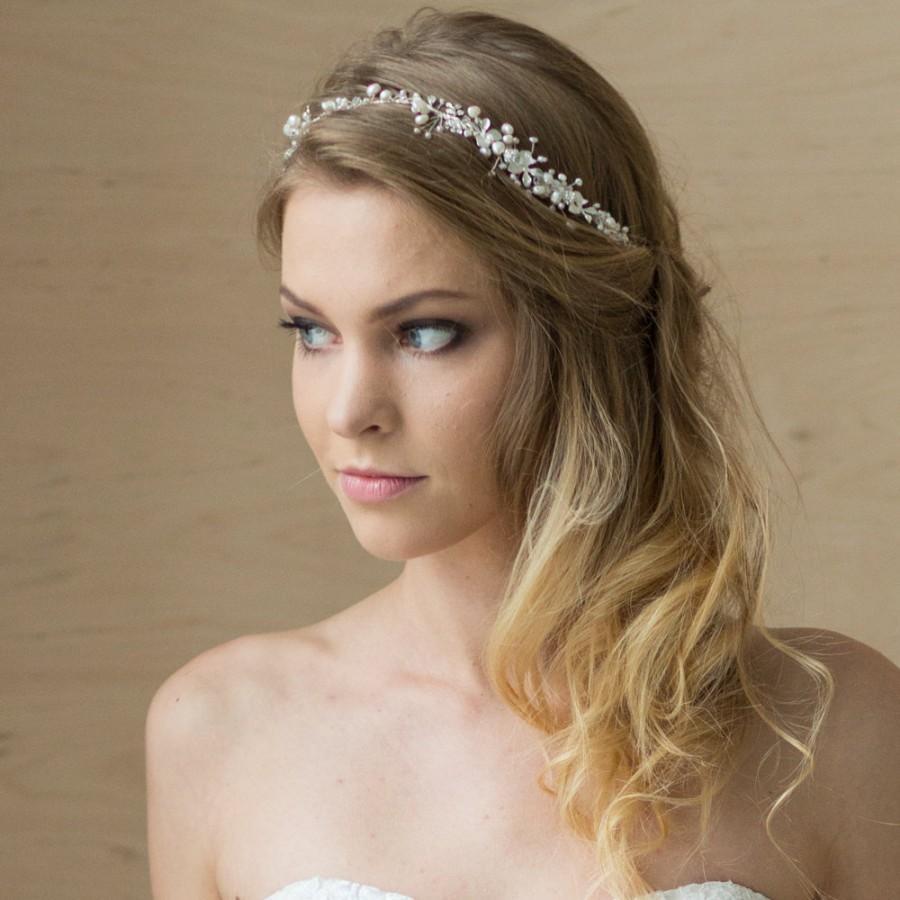 bridal hair vine bridal headband pearl headband wedding headband pearl halo bridal hair accessories bridal hair piece