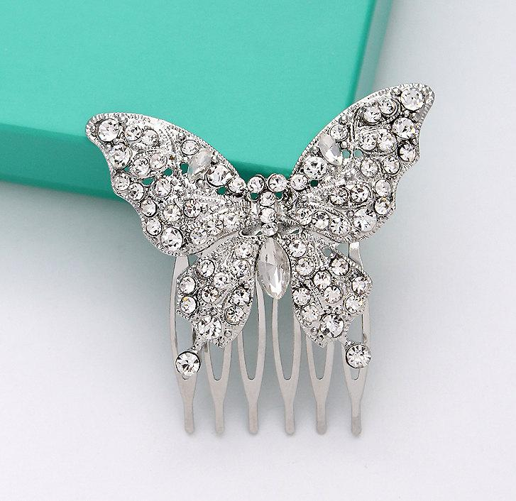 butterfly hair comb bridal hair piece rhinestone silver butterfly comb bridesmaid flower girl headpiece hair accessory wedding jewelry