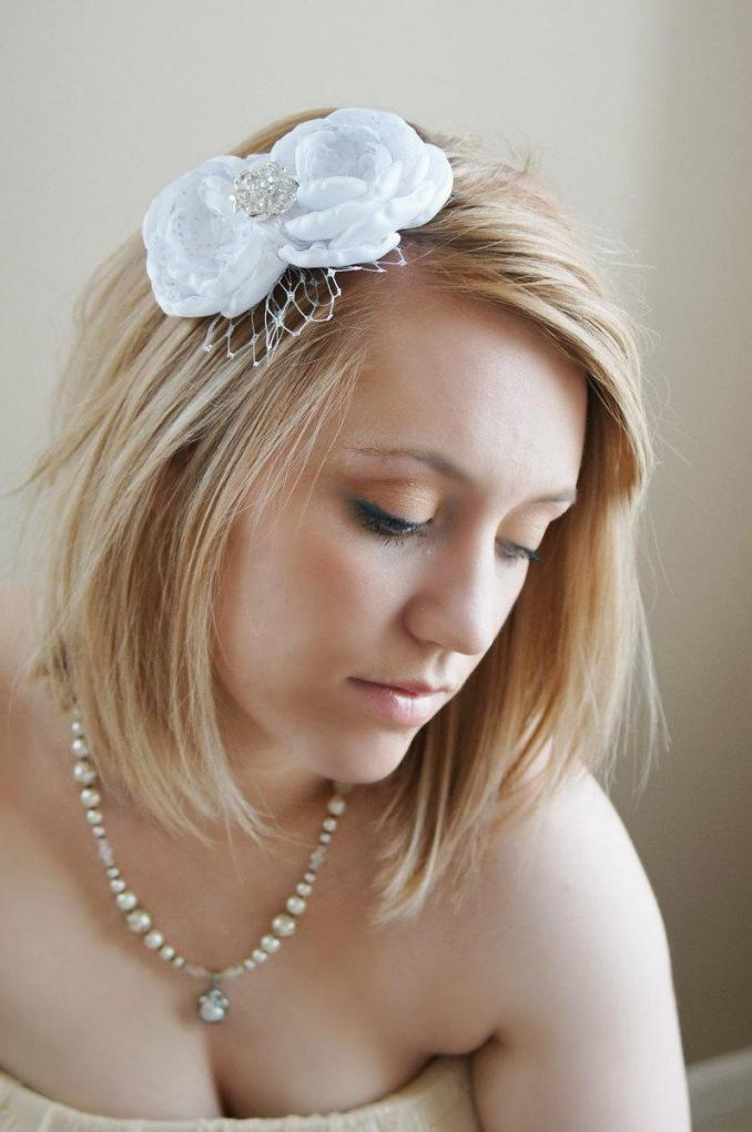handmade white flower bridal headband with silver russian